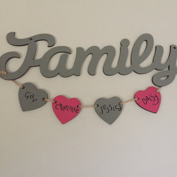 Family sign with personalised hanging hearts - I Heart Unique