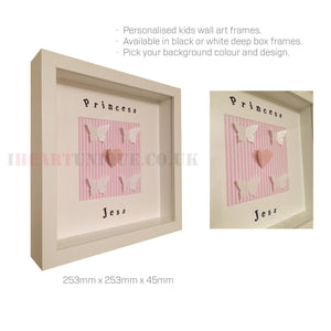 Kids Personalised Wall Art Frame - I Heart Unique - 3