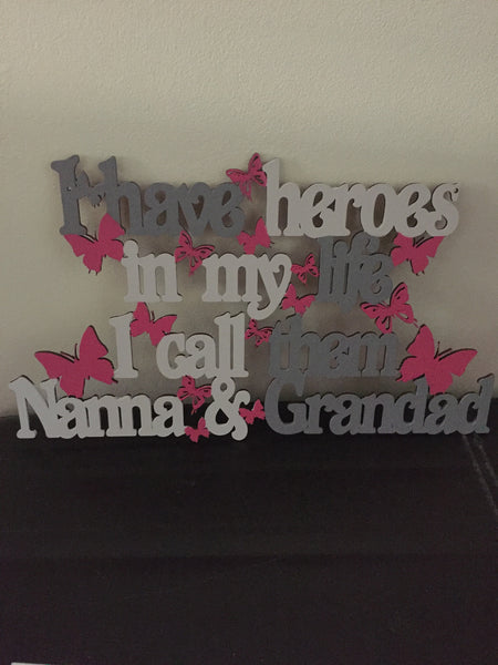 Handpainted Grandparents Hero Sign - I Heart Unique