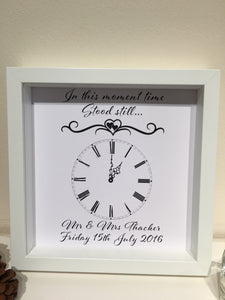 Personalised Wedding Clock Frame - I Heart Unique