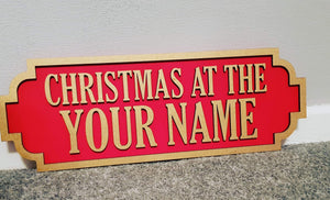 Christmas Wooden Street Sign