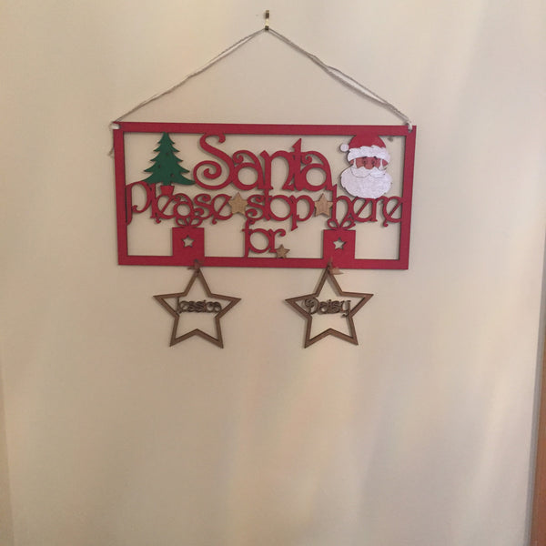 Handpainted Personalised Santa Stop Here Sign - I Heart Unique - 1