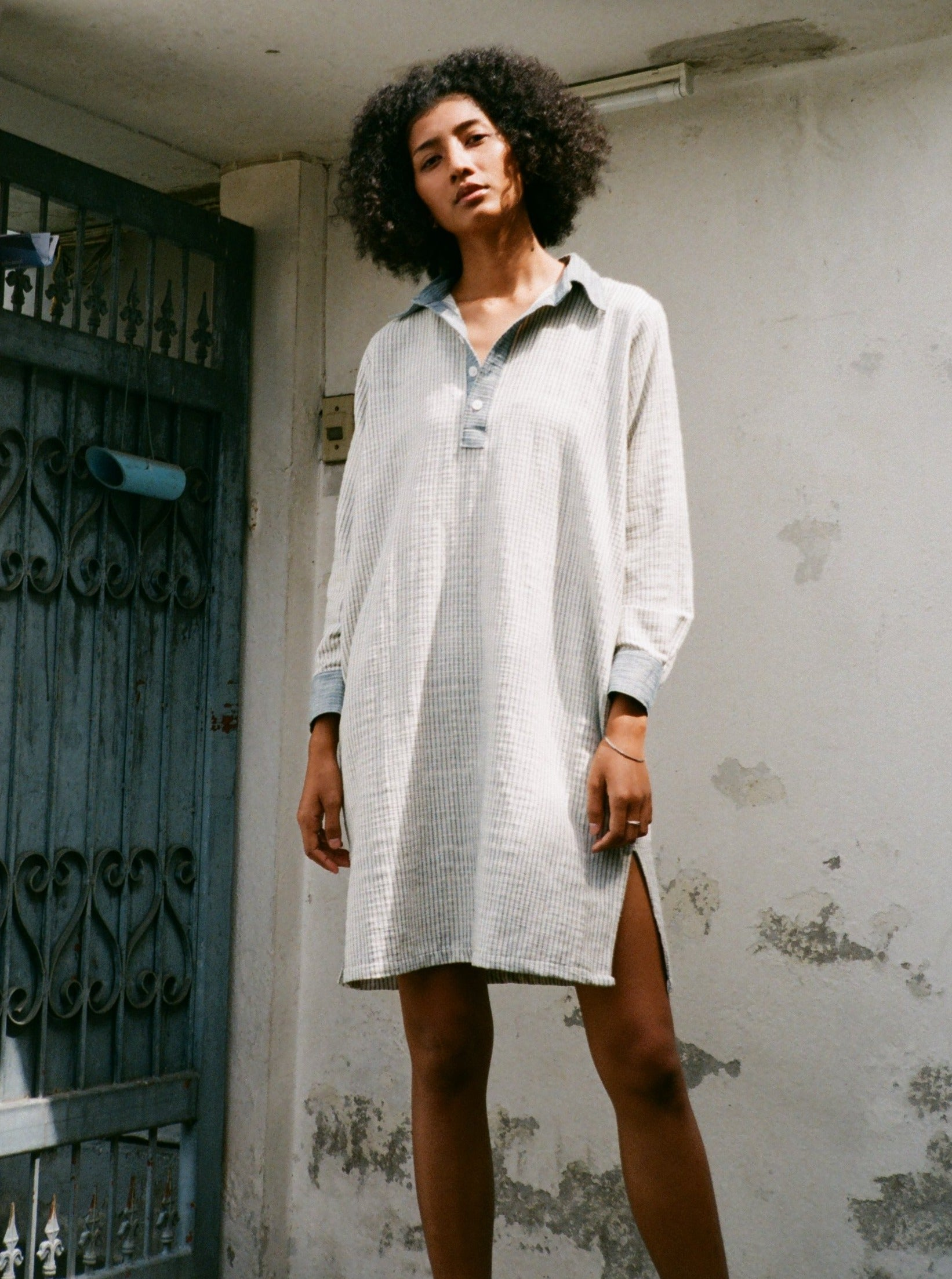 Leisure Tunic - Indigo Stripes/ Light Indigo Wash