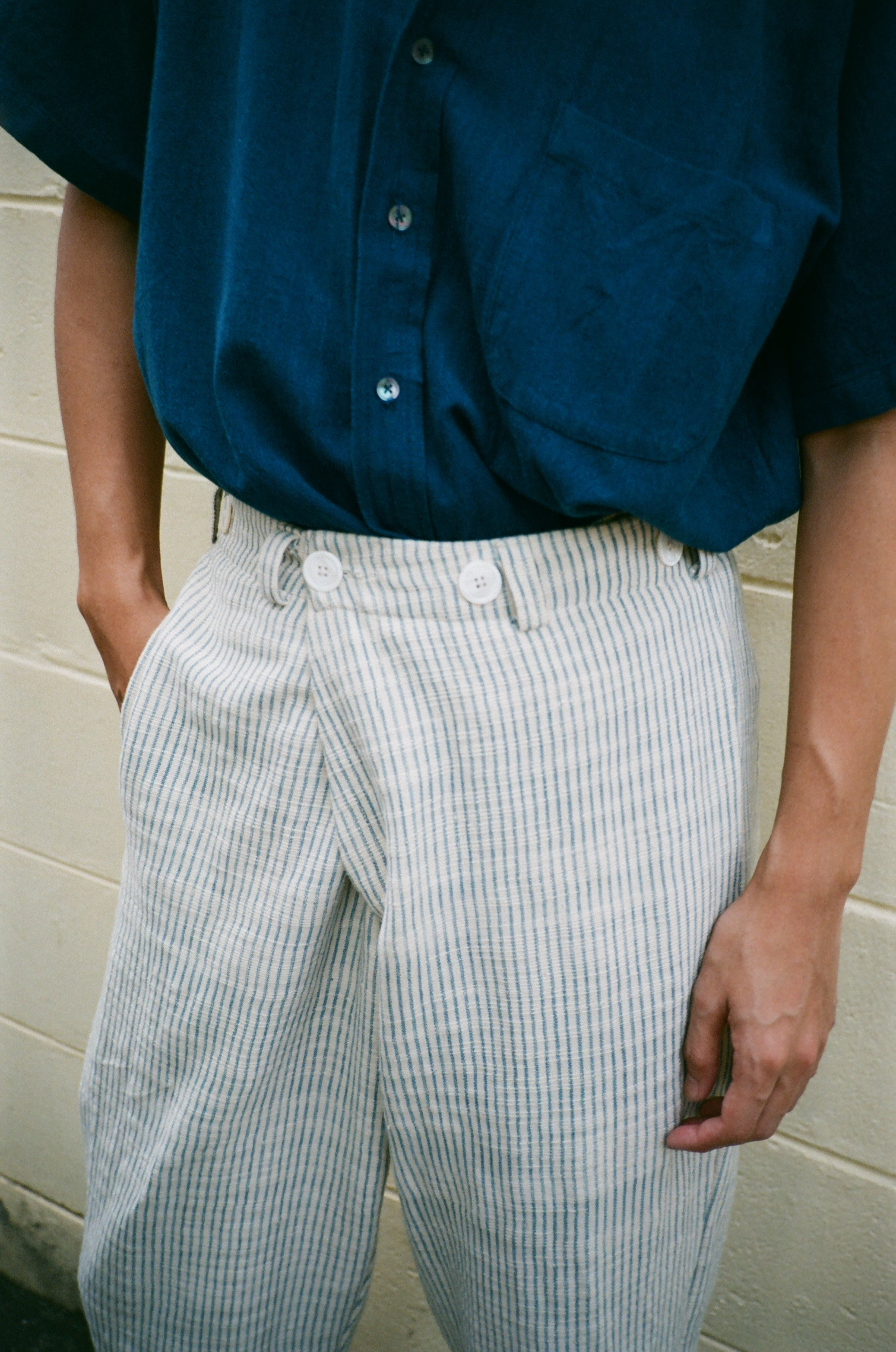 Diagonal Trousers - Indigo Stripes