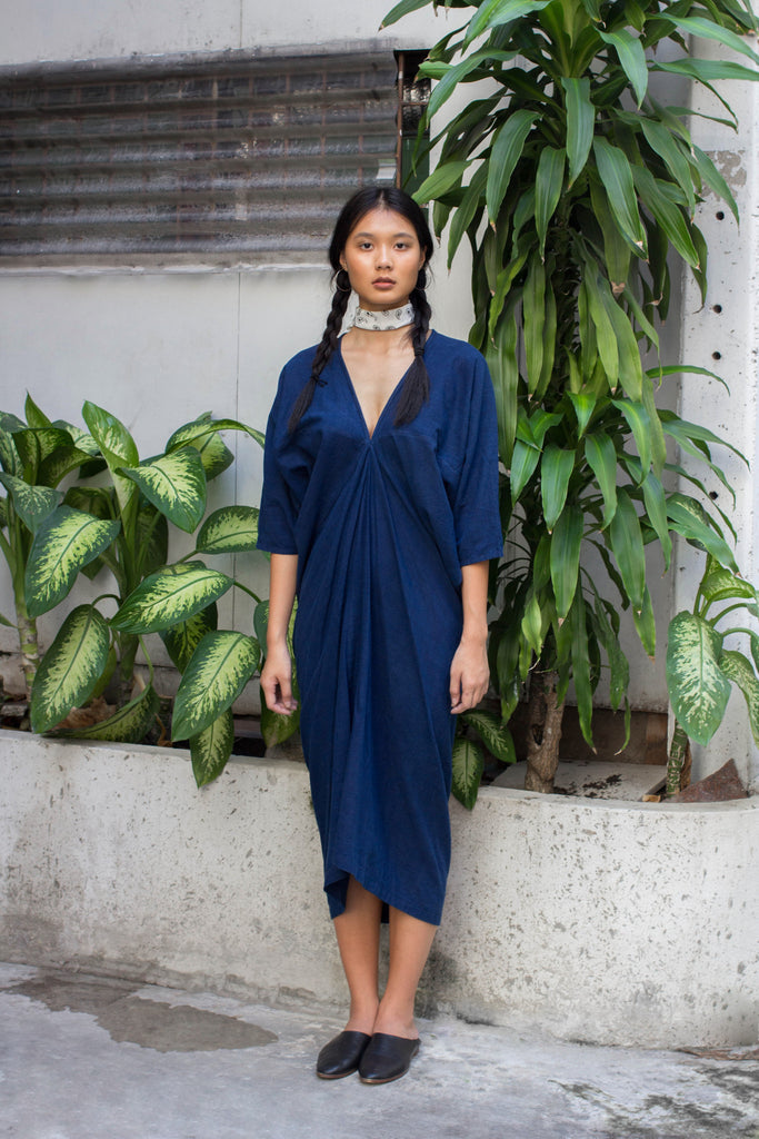 Long Kaftan Dress - Indigo