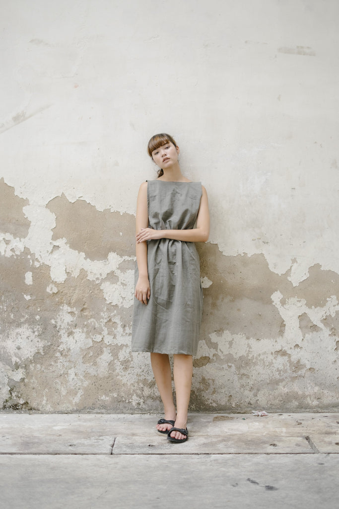Convertible Overall Dress - Grey