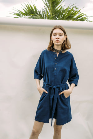 Two-way Button Dress - Indigo
