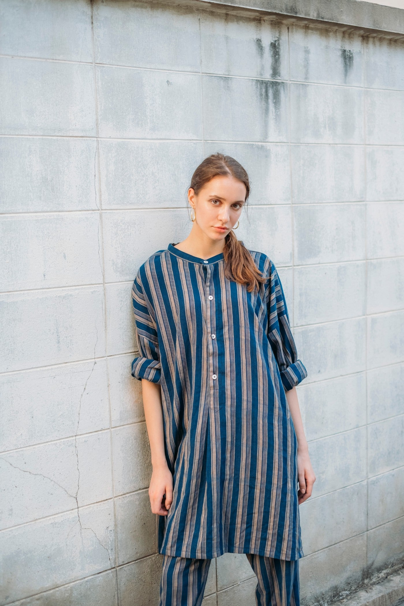 Shore Long Shirt - Indigo Stripes