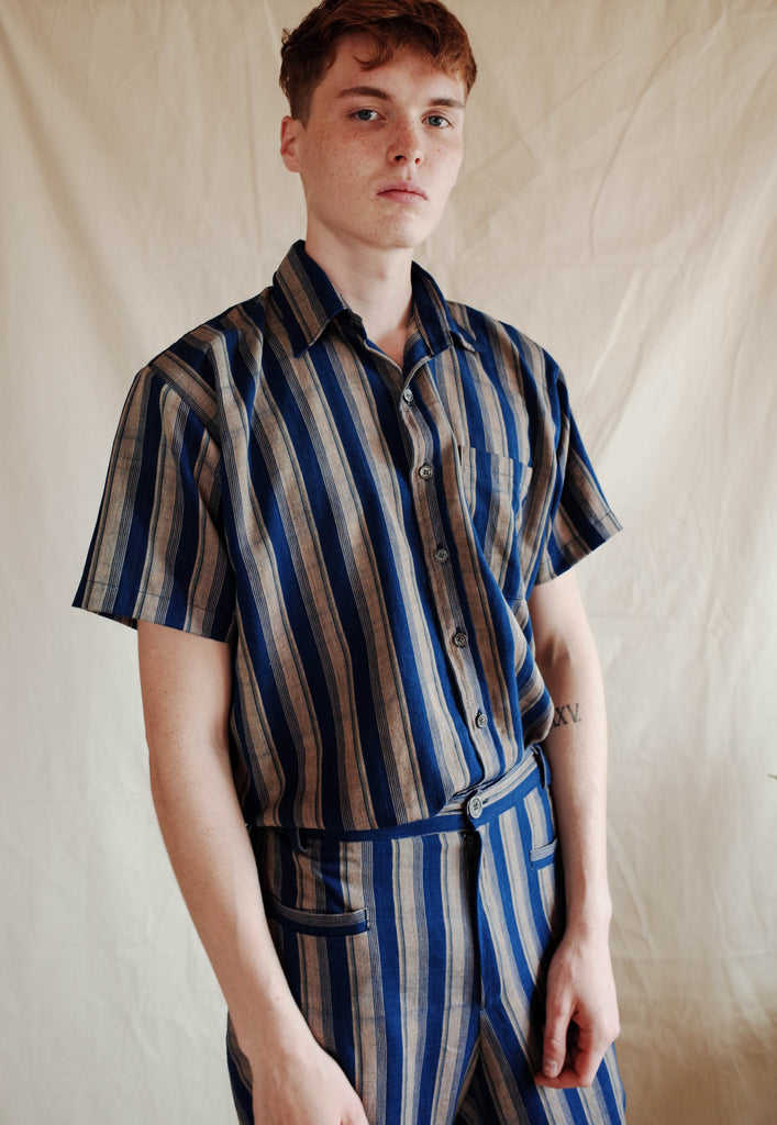 Essential Short Sleeve Shirt - Indigo Stripes