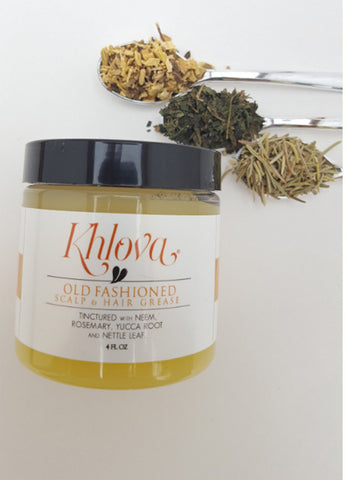 Khlova's highly effective formula that helps prevent dry, breaking dull hair and flaky scalp. Made from Neem, Rosemary, Nettle Leaf and Yucca Root. These herbs were carefully and specifically chosen for their positive effects on scalp health, hair health and hair growth. All natural and organic botanical scalp balm.