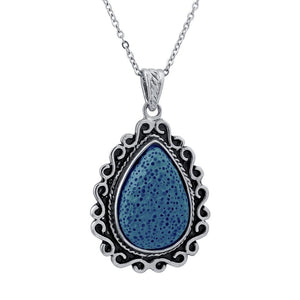 Lava Stone Diffuser Pendant Necklace (Blue) Earthroma $11.97