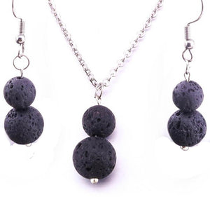 Lava Stone Diffuser Set (Necklace & Earrings)