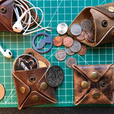 Square Coin Pouch in Whiskey Oil Tan with Silver Hardware