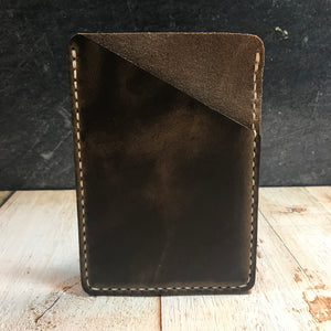 Pocket Notebook Sleeve in Olive CXL with Beige Thread
