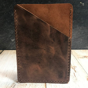 Pocket Notebook Sleeve in Brown VHF with Havana Cigar Thread