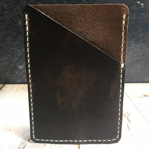 Pocket Notebook Sleeve in Nut Brown Dublin with Cream Thread
