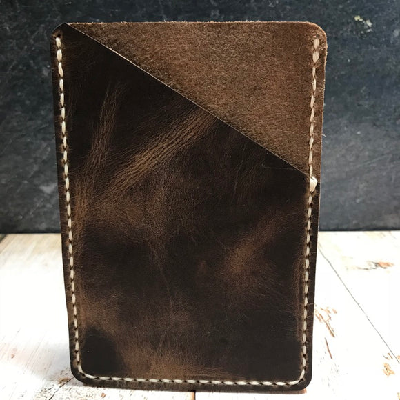 Pocket Notebook Sleeve in Nut Brown Dublin with Beige Thread
