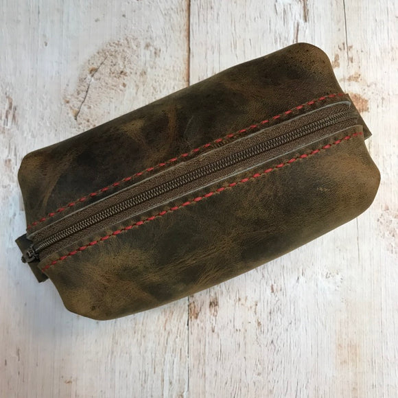 Small Dopp Bag in Broken Oak Crazyhorse with Red Stitching