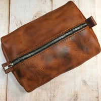 Large Dopp Bag in Autumn Harvest with Orange Stitching