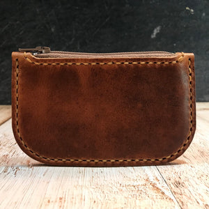 Zipper Coin Pouch In English Tan Dublin with Colonial Tan Thread