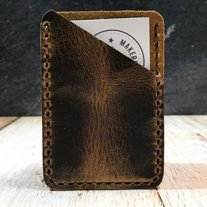 Leather Card Wallet in Broken Oak Crazyhorse with Havana Cigar Thread.