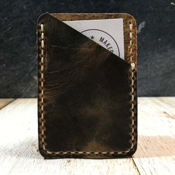 Leather Card Wallet in Broken Oak Crazyhorse with Beige Thread
