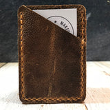 Leather Card Wallet in Scotch Grain with Colonial Tan Thread