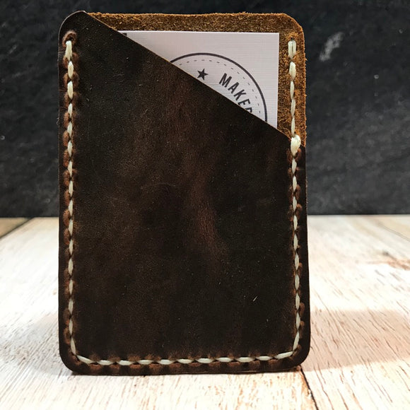 Leather Card Wallet in Sunset Oil Tan with Cream Thread