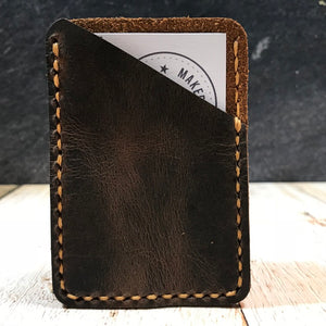 Leather Card Wallet in Sunset Oil Tan with Colonial Tan Thread