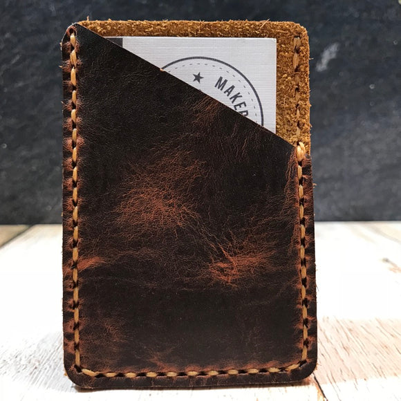 Leather Card Wallet in Autumn Harvest with Colonial Tan Thread