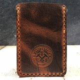 Leather Card Wallet in Autumn Harvest with Colonial Tan Thread - Lefty