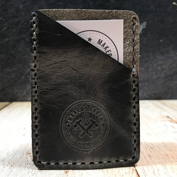 Leather Card Wallet in Wilde Moon Harvest with Space Gray Thread