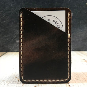 Leather Card Wallet in Nut Brown Dublin with Beige Thread