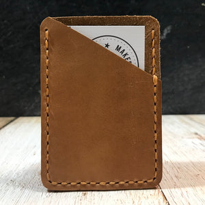 Leather Card Wallet in Natural Essex with Colonial Tan Thread