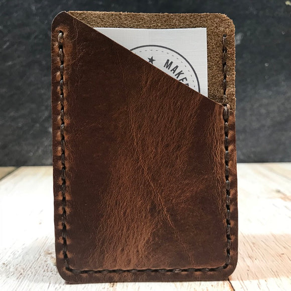 Leather Card Wallet in Brown Dublin with Brown Thread