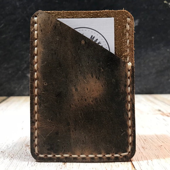 Leather Card Wallet in Crazy Tobacco with Beige Thread