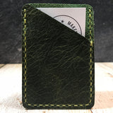 Leather Card Wallet in Green Oil Tan with Pea Green Thread