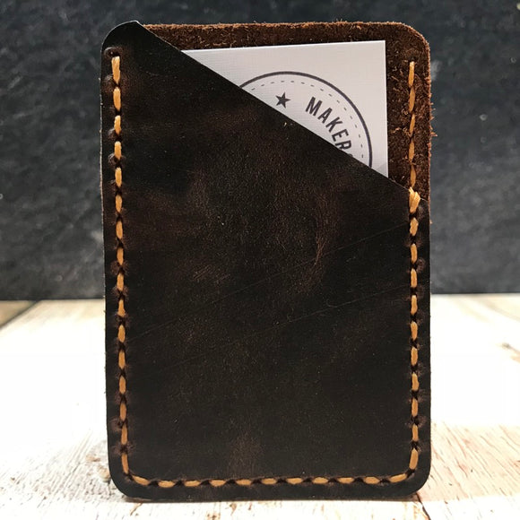 Leather Card Wallet in Nut Brown Dublin with Colonial Tan Thread