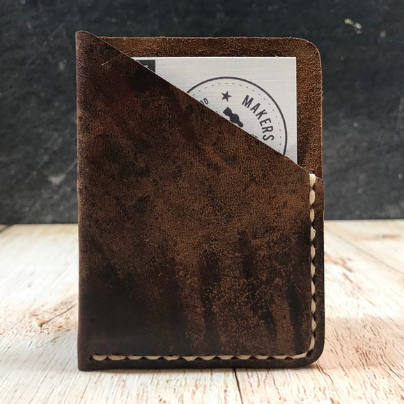 Wide Folded Card Wallet in Brown Vintage Horsefront with Beige Thread