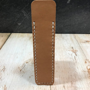 Pen Sleeve in Natural Essex with White Thread
