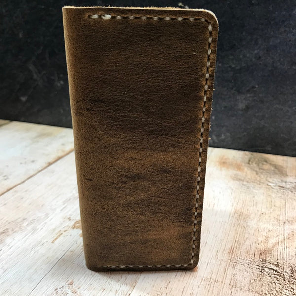 Standard Memorandum Cover in Broken Oak Crazyhorse with Beige Thread