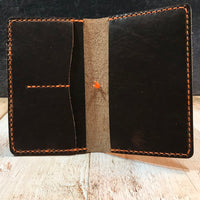 Pocket Notebook Cover Wallet with Pen Sleeve in Nut Brown Dublin with Orange Thread