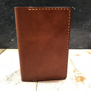 Pocket Notebook Cover in Standard QTAN Bridle and Lite QTAN Bridle Pockets with Colonial Tan Thread