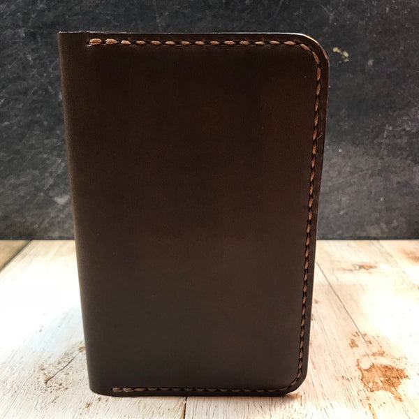Pocket Notebook Cover Wallet in Brown Buttero with Havana Cigar Thread