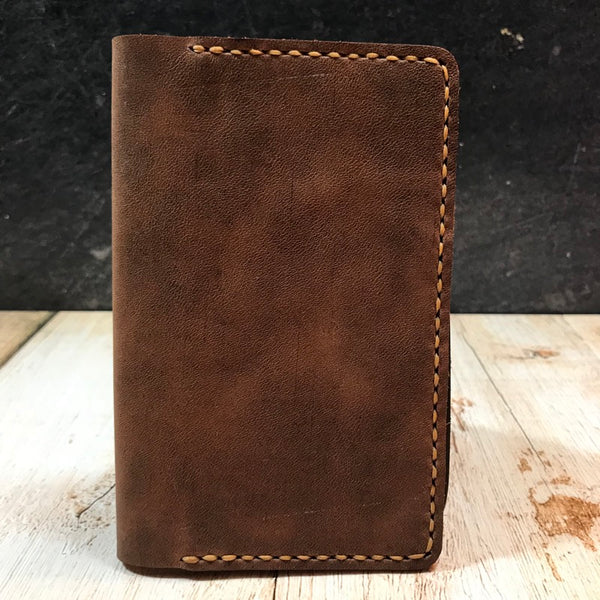 Pocket Notebook Cover in Brown Vintage Horsefront with Colonial Tan Thread