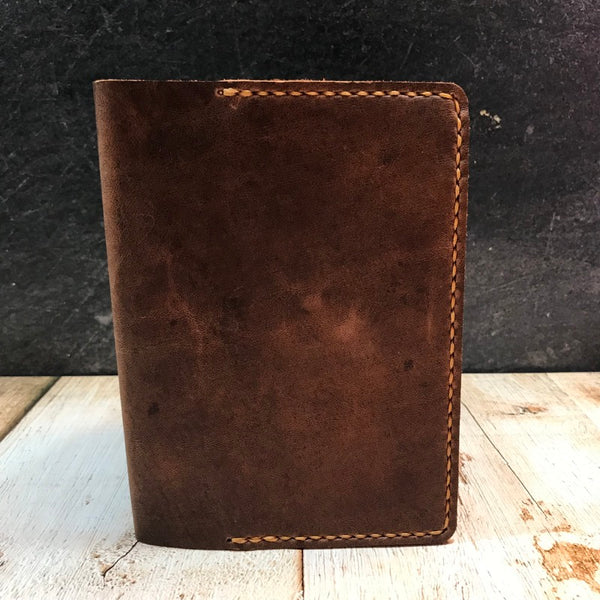 A6 Notebook Cover in Brown Vintage Horsefront with Colonial Tan Thread
