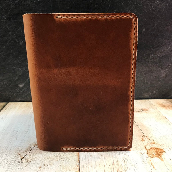 A6 Notebook Cover in English Tan Dublin with Beige Thread