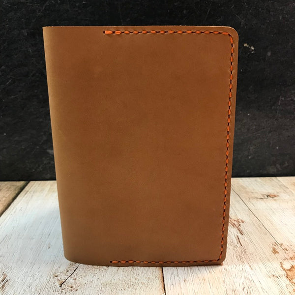 A6 Notebook Cover in Natural Essex with Orange Thread