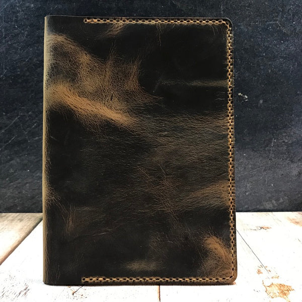 A5 Notebook Cover in Broken Oak Crazy Horse with Colonial Tan Thread