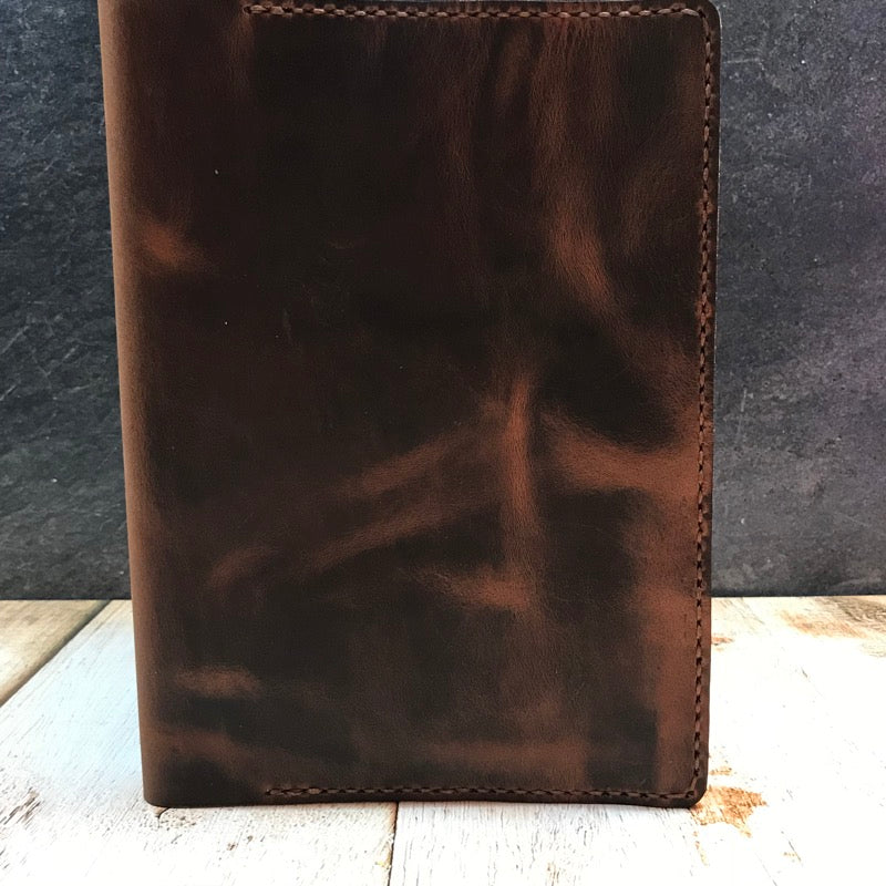 A5 Notebook Cover In Black Jack Crazy Horse With Havana Cigar Thread
